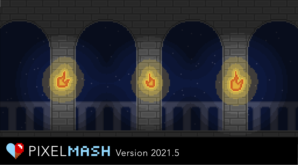 Pixelized rendering of stone columns, each with a stylized flaming torch on it